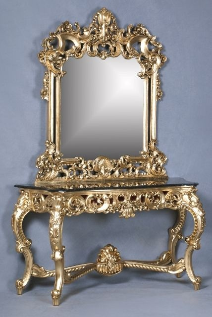 The Berkshire Console w/ Mirror: Gold Leaf & Cream Marble Tables > Console Table