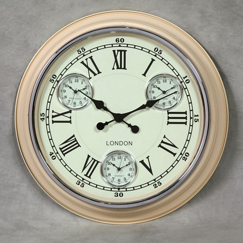 Cream with White Face Multi Dial Wall Clock Clocks > Wall Clocks