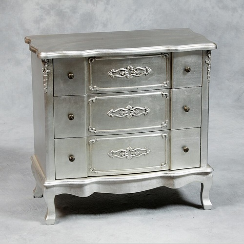 Versailles Antique Silver French Chest Of Drawers Furniture > Chest Of Drawers