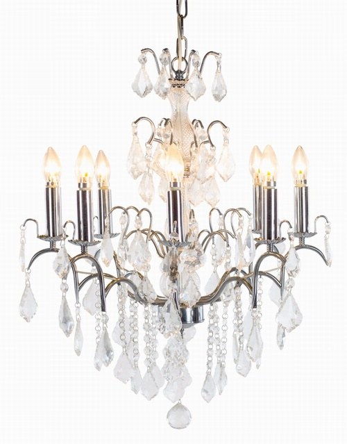 The Marseilles: 8 Branch Chrome French Chandelier Lighting > Chandeliers