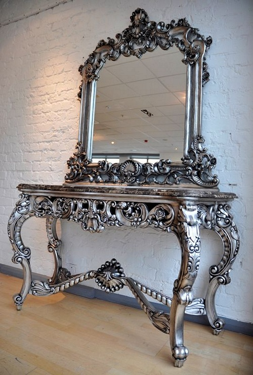 Exceptionnel The Berkshire Console W/ Mirror: Antique Silver U0026 Black Marble Tables U003e Console  Table