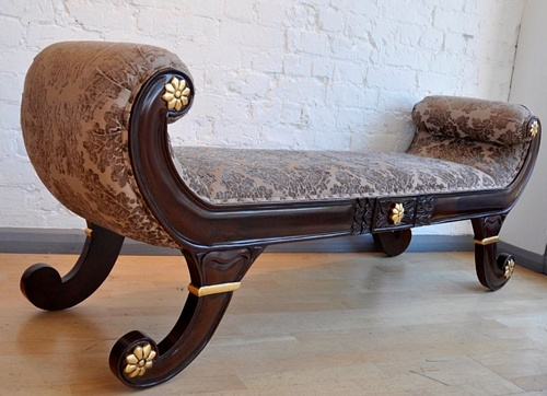 The Double Gondola: Gold Leaf & Walnut Seating > Chaise Longue
