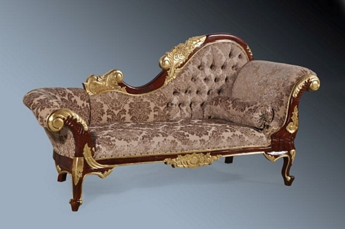 The Flower Carved Chaise: Walnut & Gold Leaf & Mocha Damask Velvet Seating > Chaise Longue
