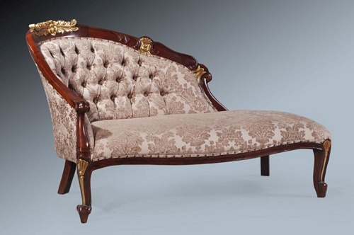The Petite Chaise - Walnut Touched With Gold Leaf. Seating > Chaise Longue