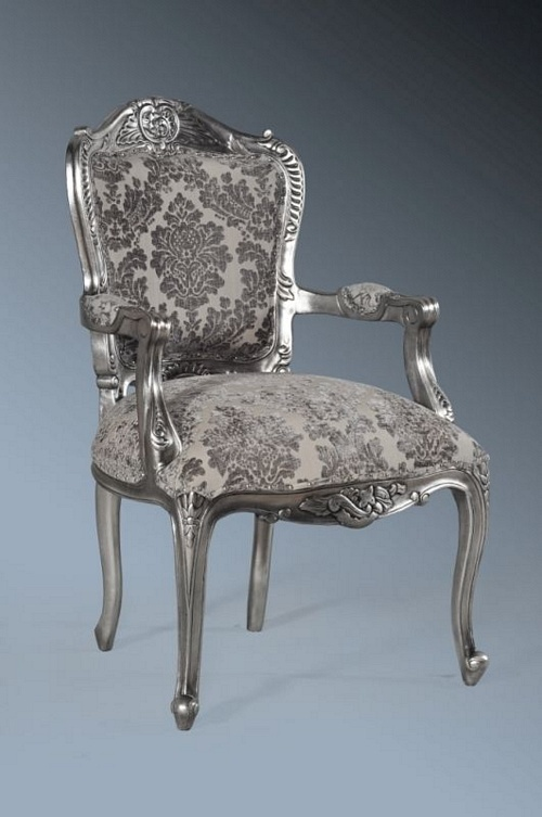 The Grand Louis Chair - Antique Silver & Grey Damask Velvet Seating > Chairs