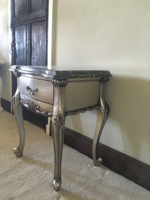 The Charles Side Table: Antique Silver & Snakeskin Marble Tables > Coffee And Side Tables