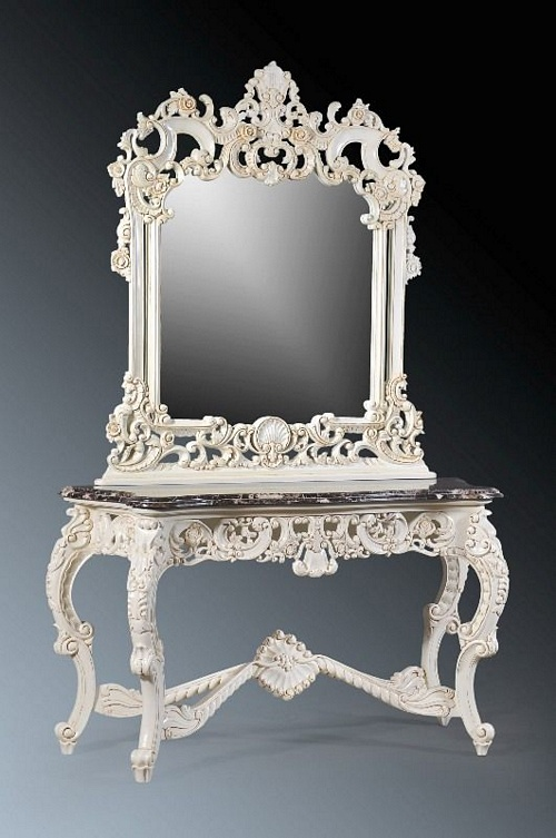 The Berkshire Console w Mirror: Antique white & Cream Marble Tables > Console Table