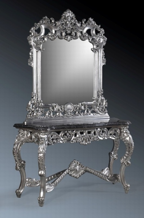 The Berkshire Console w/ Mirror: Silver Leaf & Black Marble. Tables > Console Table