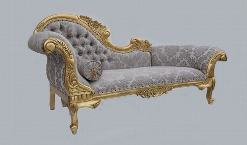 The Flower Carved Chaise Longue: Gold Leaf & Champagne Damask Seating > Chaise Longue
