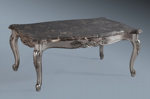 Monaco Coffee Table: Antique Silver Leaf & Black Veined Double Layered Marble Tables > Coffee And Side Tables