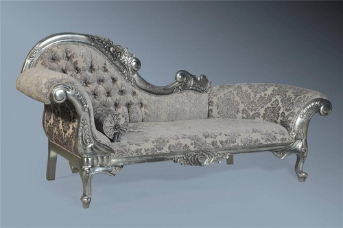 The Flower Carved Chaise Longue: Antique Silver Leaf & Grey Damask Seating > Chaise Longue
