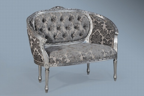 The Double Loveseat: Antique silver & grey velvet damask. Seating > Small Sofas/Love Seats