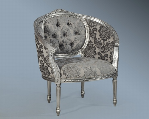 The Single Loveseat: Antique Silver & Grey damask. Seating > Small Sofas/Love Seats