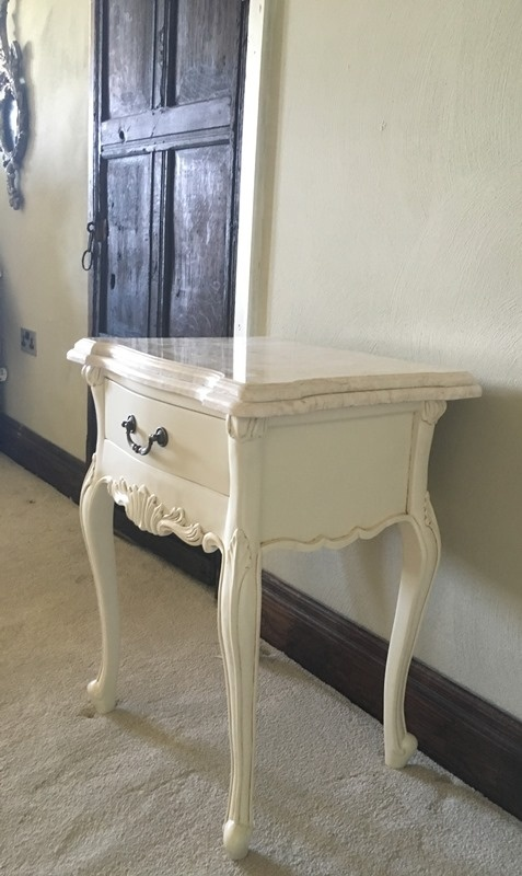 The Charles Side Table: French White & Cream Double Marble Tables > Coffee And Side Tables