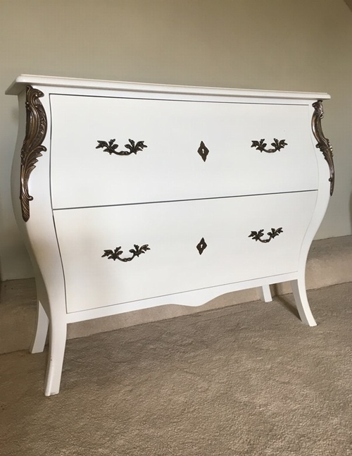 The Large Serpentine Chest: French White Furniture > Chest Of Drawers