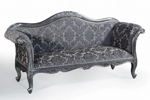 The Belfort Sofa: Antique Silver & Grey Damask Seating > Sofas