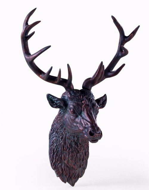 Large Antique Bronze Effect Stag Wall Head Decorative > Wall Art