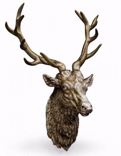 Large Antique Silver Stag Wall Head Decorative > Wall Art