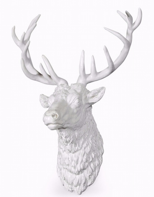 Large Bright White Stag Wall Head Decorative > Wall Art