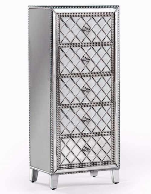 Venetian Pearled Style Edge 'Mayfair' Glass Tall Chest of Drawers Furniture > Chest Of Drawers