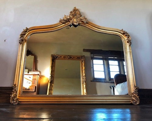 Antique Gold Large Over Mantle Mirror, Gold Baroque Mirrors Uk