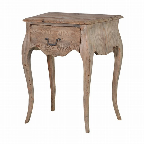 Rustic Natural Vintage French Colonial Reclaimed Pine Bedside Side table Tables > Coffee And Side Tables