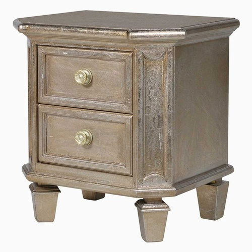 Classic Midas Gold Effect 2 Drawer Bedside Cabinet Tables > Coffee And Side Tables