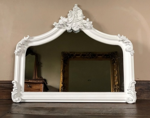 The Annecy: Small Over Mantle - Pure Matt White Mirrors > White Mirrors