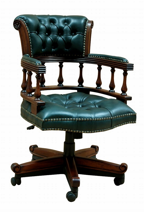 The Captain's Chair: Green Leather. Office > Chairs