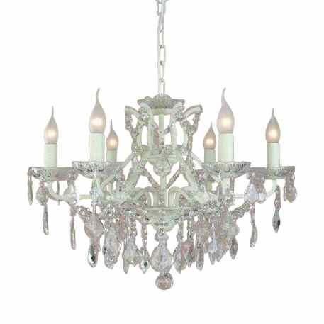 The Toulouse: Antique White 6 Branch Shallow Chandelier Lighting > Chandeliers