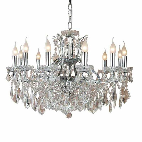 The Toulouse: Chrome 12 Branch Shallow Chandelier Lighting > Chandeliers