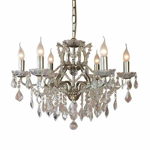 The Toulouse: Pale Gold 6 Branch Shallow Chandelier Lighting > Chandeliers