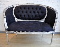 The Double Love Seat: Silver Leaf & Black Velvet