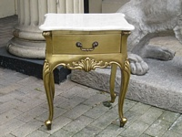 The Charles Side Table: Gold Leaf & Cream Marble.