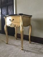 The Charles Side table:Gold Leaf & Black Marble.