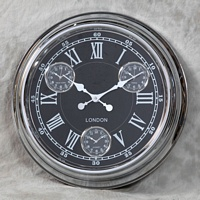 Chrome with Black Face Multi Dial Wall Clock