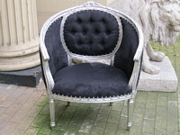 The Single Loveseat: Silver Leaf & Black Velvet