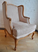 The Wingback Chair: Soft Oak & Beige Moleskin