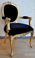 The Versailles Carver Chair - Gold Leaf & Matt Black