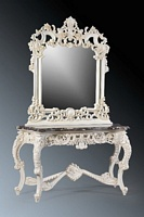 The Berkshire Console w Mirror: Antique white & Cream Marble