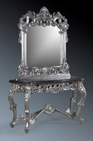 The Berkshire Console w/ Mirror: Silver Leaf & Black Marble.