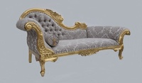 The Flower Carved Chaise Longue: Gold Leaf & Champagne Damask
