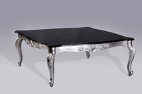 Monaco Coffee Table: Silver Leaf & Black Veined Marble
