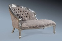 Petit Chaise Longue- Antique Silver & Grey Damask Velvet