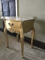The Charles Side Table: Gold Leaf & Cream Double Marble