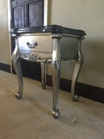 The Charles Side Table: Silver Leaf & Black Double Marble