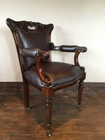 Regency Office Chair: Fine Brown Leather W/ Casters