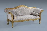 The Belfort Sofa:  Gold Leaf & Oyster Damask