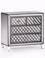 Venetian Pearled Style Edge 'Mayfair' Glass Chest of Drawers