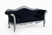 The Belfort Sofa: Silver Leaf & Black Velvet